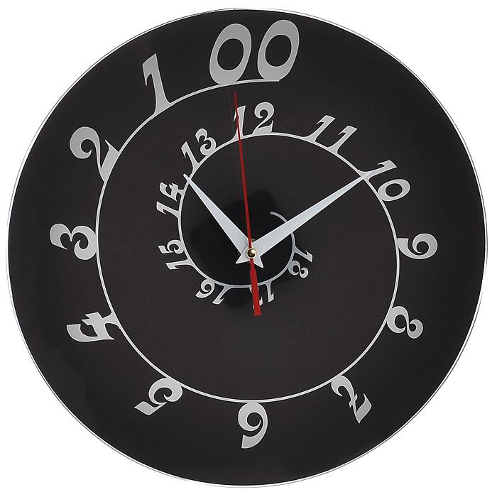 Античасы настенные Спираль, цвет: черный. 93135 часы эврика античасы классика белая стеклянные