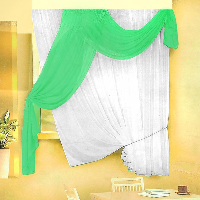 Комплект штор для кухни Zlata Korunka, на ленте, цвет: белый, салатовый, высота 170 см. Б066S03301004Комплект штор Zlata Korunka, изготовленные из легкого полиэстера, станут великолепным украшением кухонного окна. В набор входит тюль белого цвета и ламбрекен салатового цвета. Для более изящного расположения тюля на окне прилагается подхват. Все элементы комплекта на шторной ленте для собирания в сборки.Оригинальный дизайн и приятная цветовая гамма привлекут к себе внимание и органично впишутся в интерьер. Характеристики: Материал: 100% полиэстер. Цвет: белый, салатовый. Размер упаковки: 34 см х 28 см х 3 см. Производитель: Польша. Изготовитель: Россия. Артикул: Б066.В комплект входит: Тюль - 1 шт. Размер (Ш х В): 290 см х 170 см. Ламбрекен - 1 шт. Размер (Ш х В): 90 см х 170 см.