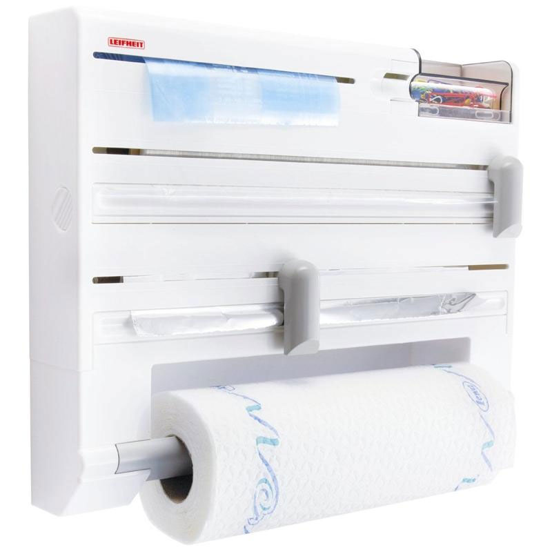 Держатель кухонный Parat Plus, цвет: белый4630003364517Кухонный держатель Parat Plus, изготовленный из высокопрочного пластика, крепится к стене и не занимает много места. В держателе предусмотрены отделения для стандартных рулонов с бумажными полотенцами, полиэтиленовой пленкой (max 60 м), фольгой (max 30 м) и пакетами для замораживая, а также дозатор для скотча и контейнер для мелочей. Устройство оснащено режущими ползунками, которые обеспечивают всегда ровную резку фольги и пленки. После каждой резки всегда остается готовый к захвату край, благодаря чему отпадает необходимость в утомительном открывании прибора перед каждым применением. Рулоны закладываются спереди (открывается крышка, вставляется рулон и крышка закрывается).В комплект входят: кухонный держатель, крепежные элементы, рулон с бумажными полотенцами. Размер держателя: 37 см х 27,5 см х 6 см. Размер рулона бумажных полотенец: 26 см х 10 см х 10 см.Максимальный диаметр рулона бумажных полотенец: 10 см. Максимальная длина фольги: 30 м. Максимальная длина пленки: 60 м.