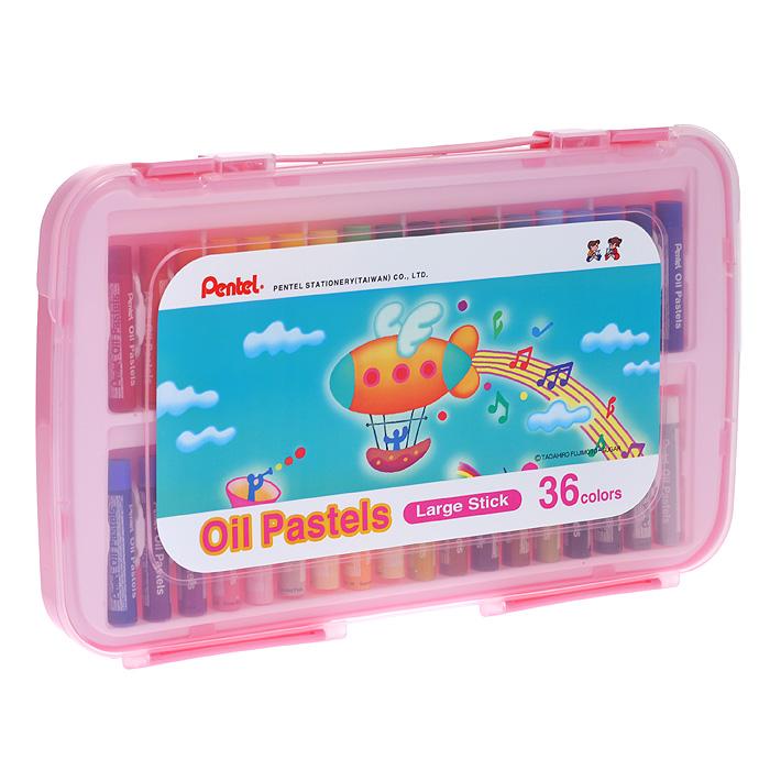 Пастель масляная Pentel Oil Pastels, 36 цветовFS-36054Набор Pentel Oil Pastels содержит масляную постель 36 ярких активных цветов. Пастель выполнена в виде мелков цилиндрической формы, каждый из которых обернут в бумажную гильзу. Мелки великолепного качества не крошатся при работе, обладают отличными кроющими свойствами, обеспечивают хорошее сцепление с поверхностью, яркость и долговечность изображения. Пастель изготовлена из натуральных компонентов и не содержит вредных примесей, соответствует европейскому стандарту качества EN71, утвержденному для детских товаров.Масляной постелью Pentel Oil Pastels можно рисовать в любой технике - в сочетании с цветными карандашами и красками. При работе рекомендуется использовать шероховистые поверхности - специальные бумаги, картон, холст. Характеристики: Длина мелка пастели: 6 см. Диаметр мелка пастели: 1 см. Размер упаковки: 30,5 см х 19 см х 2 см. Изготовитель: Тайвань.
