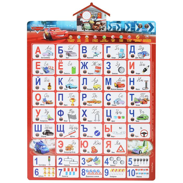 """Электронный звуковой плакат Умка """"Тачки: Азбука"""" поможет ребенку в увлекательной и доступной форме познакомиться с русским алфавитом, а также со счетом до десяти. На плакате изображены буквы с картинками, начинающимися на соответствующую букву, и цифры от 1 до 10, рядом - сенсорные кнопки, нажав на которые, ребенок услышит произношение буквы или цифры и название картинки. Сверху на плакате находятся пластиковая панель-динамик в виде домика и кнопки выбора режимов. Плакат предусматривает 10 обучающих программ. С помощью них ребенок сможет выучить 9 чистоговорок и 3 скороговорки, а также прослушать 43 стихотворения про буквы и цифры и три мелодии из мультфильма """"Тачки"""". 43 загадки помогут проверить полученные знания. В правом верхнем углу расположены кнопки регулировки громкости. Если ребенок забыл выключить плакат, он самостоятельно отключится спустя некоторое время. Порадуйте своего ребенка таким замечательным подарком!"""