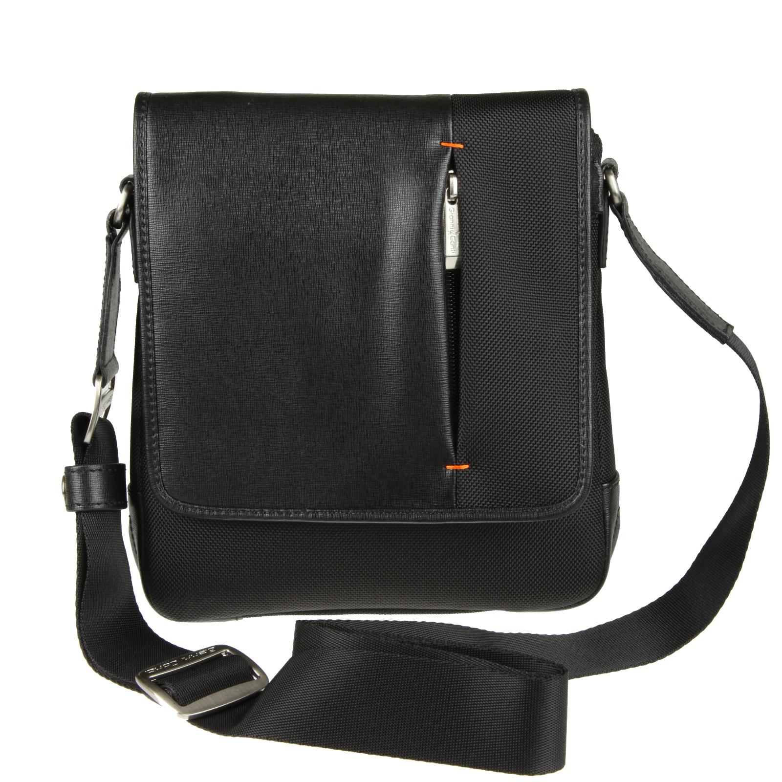 Сумка-планшет Gianni Conti, цвет: черный. 853779 Bl23008Мужская сумка-планшет Gianni Conti выполнена из нейлона черного цвета с вставками из натуральной кожи. Сумка имеет одно вместительное отделение, которое закрывается клапаном на две магнитную кнопку. Внутри - накладной открытый кармашек, вшитый карман на молнии. Под клапаном расположен открытый карман. На клапане также расположен вертикальный кармашек. С задней стороны - вшитый карман на молнии. Сумка оснащена плечевым ремнем регулируемой длины. Фурнитура - серебристого цвета. Сегодня мужская сумка - это необходимый аксессуар, который не только уместит все необходимые вещи, но и подчеркнет ваш стиль. Характеристики: Материал: нейлон, текстиль, металл, натуральная кожа. Цвет: черный. Размер сумки: 24 см х 21 см х 6 см. Длина плечевого ремня: 85-185 см. Артикул: 853779 Bl.