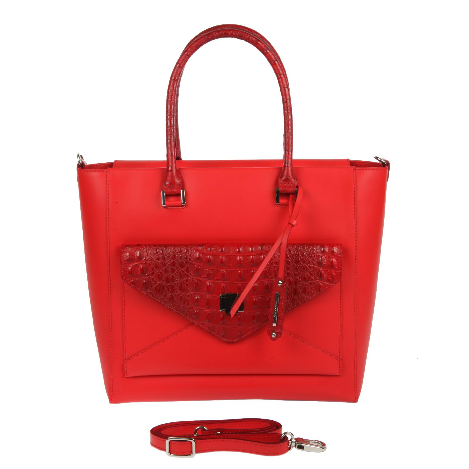 Сумка женская Gianni Conti, цвет: красный. 1293893E10931-1Стильная сумка Gianni Conti выполнена из натуральной кожи красного цвета. Сумка имеет одно отделение, которое закрывается на молнию. Внутри - два накладных кармашка для телефона и мелочей, вшитый карман на молнии, открытый карман и один кармашек для ручки. На передней стороне расположен накладной кармашек, который закрывается клапаном на поворотный замок. Сумка оснащена удобными ручками, украшенными подвесным брелком с символикой бренда и съемным плечевым ремнем. Фурнитура - серебристого цвета.Сумка - это стильный аксессуар, который подчеркнет вашу индивидуальность и сделает ваш образ завершенным. Характеристики:Материал: натуральная кожа, текстиль, металл. Цвет: красный. Размер сумки: 41 см х 30 см х 14 см. Высота ручек: 20 см. Длина плечевого ремня: 116 см. Артикул: 1293893E Coral.