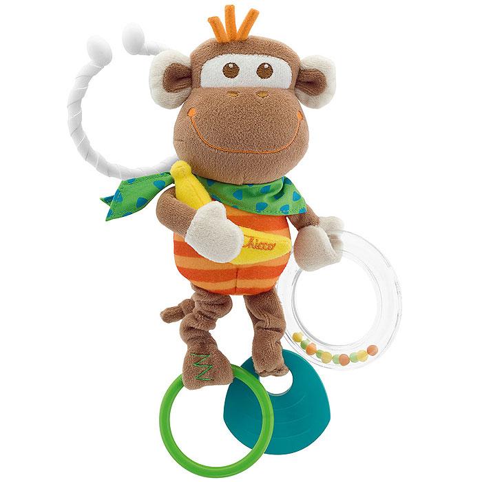 """Развивающая игрушка Chicco """"Обезьянка"""" привлечет внимание вашего малыша и не позволит ему скучать! Она выполнена из различных материалов, абсолютно безопасных для ребенка. В лапке обезьянка держит прозрачное пластиковое колечко. Внутри него находятся цветные маленькие шарики, которые перекатываются и весело гремят при тряске. К другой лапке крепится прорезыватель, который поможет малышу снять неприятные ощущения при появлении первых зубов. На третьей лапке закреплено пластиковое кольцо. Стоит потянуть его вниз, как игрушка начнет вибрировать до тех пор, пока лапка не вернется в исходное положение. С помощью кольца игрушку можно повесить на коляску, кресло или игровую дугу малыша. Игрушка """"Обезьянка"""" поможет малышу развить цветовое и звуковое восприятие, мелкую моторику рук и координацию движений."""