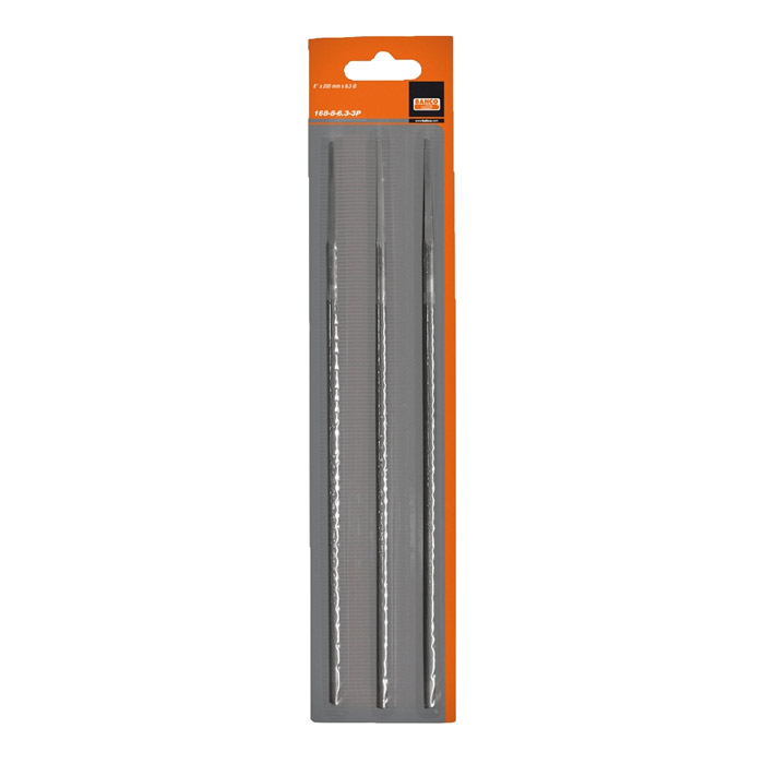 Набор напильников для заточки цепей Bahco, 200 мм х 4,5 мм, 3 шт2706 (ПО)Набор круглых напильников Bahco используется для заточки режущих зубьев пильных цепей. Характеристики: Материал: металл. Длина напильника: 20 см. Диаметр напильника: 0,45 см. Размеры упаковки: 30 см х 6,5 см х 0,5 см.