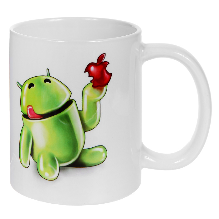 Кружка Андроид с яблоком. 93766387128Кружка Андроид с яблоком, выполненная из высококачественной керамики, станет отличным подарком для человека, ценящего забавные и практичные подарки. Кружка оформлена изображением веселого андроида с яблоком. Такой подарок станет не только приятным, но и практичным сувениром: кружка станет незаменимым атрибутом чаепития, а оригинальный дизайн вызовет улыбку. Характеристики:Материал:керамика. Высота кружки:9,5 см. Диаметр по верхнему краю: 8 см. Размер упаковки:11,5 см х 8,5 см х 10,5 см. Изготовитель:Китай. Артикул: 93766.
