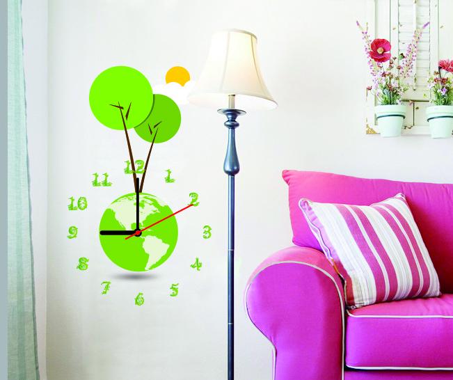 Настенные декоративные часы-стикеры Perfecto Зеленая планета. GLM-T00111162180Настенные декоративные часы-стикеры Зеленая планета в виде земного шара добавят в интерьер вашего дома оригинальности. Часы представляют собой стикер, выполненный из винила - тонкого эластичного материала, который хорошо прилегает к любым гладким и чистым поверхностям, легко моется и долго держится, после удаления не оставляет следов. Циферблат выполнен из плотного картона и имеет три стрелки - часовую, минутную и секундную, клеится к поверхности также при помощи стикера. Такие часы станут интересным дизайнерским решением не только спальни, гостиной или детской, но также и офиса. Характеристики: Материал: винил, пластик, картон. Цвет: зеленый, белый. Диаметр циферблата: 9,5 см. Размер упаковки: 18,5 см х 32 см х 4 см. Артикул: GLM-T001. Рекомендуется докупить одну батарейку типа АА, в комплект не входит.
