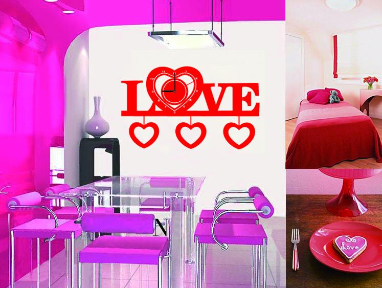 Настенные декоративные часы-стикеры Perfecto Love. GLM-T00354 009305Настенные декоративные часы-стикеры в виде надписи Love добавят в интерьер вашего дома оригинальности. Часы представляют собой стикер, выполненный из винила - тонкого эластичного материала, который хорошо прилегает к любым гладким и чистым поверхностям, легко моется и долго держится, после удаления не оставляет следов. Циферблат выполнен из плотного картона и имеет три стрелки - часовую, минутную и секундную, клеится к поверхности также при помощи стикера. Такие часы станут интересным дизайнерским решением не только спальни, гостиной или детской, но также и офиса. Характеристики: Материал: винил, пластик, картон. Цвет: красный. Диаметр циферблата: 9,5 см. Размер упаковки: 18,5 см х 32 см х 4 см. Артикул: GLM-T003. Рекомендуется докупить одну батарейку типа АА, в комплект не входит.