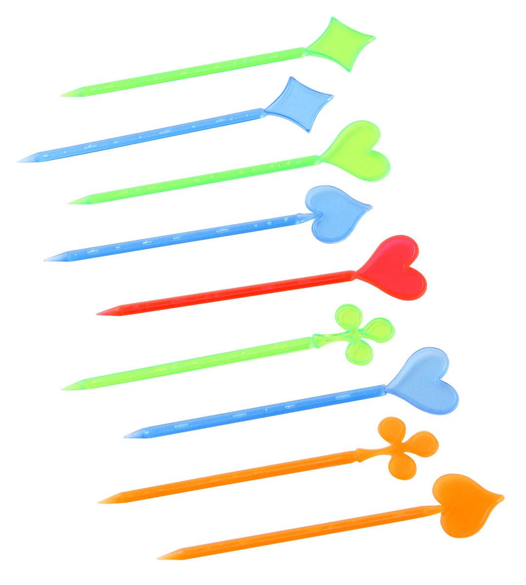 Палочки для канапе Fackelmann Карты, 8,5 см, 50 штGT005_розовыйПалочки для канапе Fackelmann Карты выполнены из разноцветного пластика. Верхушки оформлены фигурками в виде карточных мастей. Такие палочки помогут вам создать оригинальные канапе и бутерброды из самых простых продуктов. Представьте, насколько ярким и красивым станет ваш праздничный стол, и как будут приятно удивлены гости мастерством хозяйки. Характеристики:Материал: пластик. Длина палочки: 8,5 см. Комплектация: 50 шт. Артикул: 50417. Компания Fackelmann была основана в 1948 году и в настоящее время является крупнейшим мировым поставщиком товаров для дома. В ассортименте компании найдутся товары для самых разных покупателей. Продукция Fackelmann выполнена из различных комбинаций металла - нержавеющей, хромированной, никелированной и луженой стали, светлого и темного дерева - бука и сосны, пластмассы, акрила, прозрачного, матового и цветного стекла. С продукцией Fackelmann ваш дом станет красивее, уютнее и намного удобнее!
