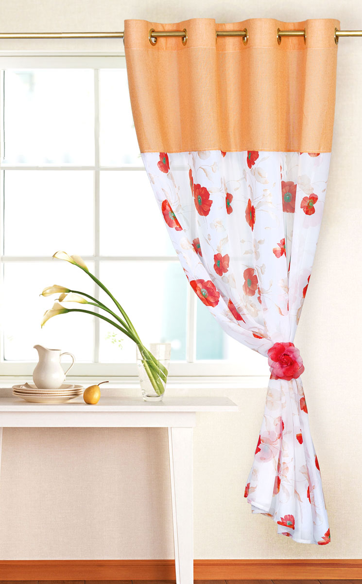Штора готовая для кухни Garden, на кольцах, цвет: персиковый, размер 150*180 см. С 10213 -W191 -W1222 V2С 10213 -W191 -W1222 V2Элегантная тюлевая штора Garden выполнена из вуали (полиэстера). Сочетание плотной и полупрозрачной ткани, приятная цветовая гамма, цветочный принт привлекут к себе внимание и органично впишутся в интерьер помещения. Такая штора идеально подходит для солнечных комнат. Мягко рассеивая прямые лучи, она хорошо пропускает дневной свет и защищает от посторонних глаз. Отличное решение для многослойного оформления окон. Эта штора будет долгое время радовать вас и вашу семью!Штора крепится на карниз при помощи металлических колец, которые помогут красиво и равномерно задрапировать верх.