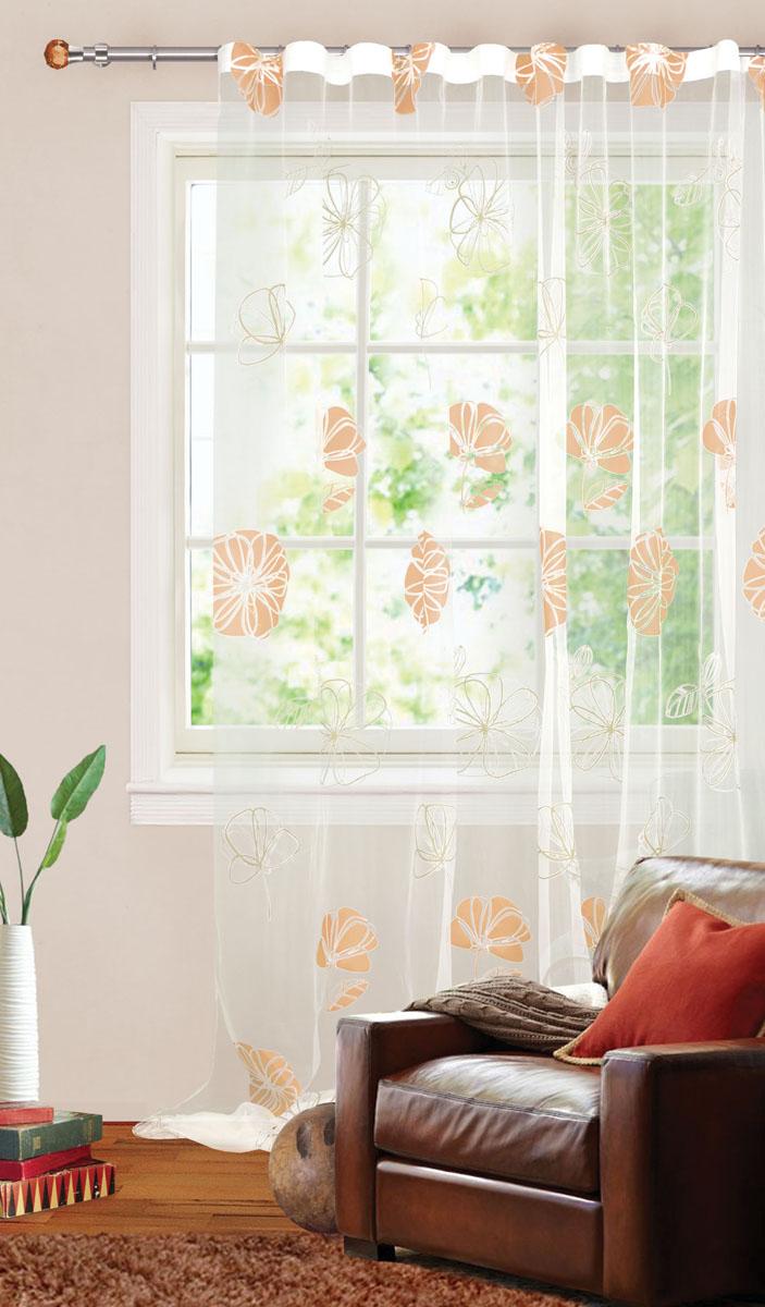 Штора готовая для гостиной Garden, на ленте, цвет: желто-белый, размер 300*280 см. С 3093 - W260 V3K100Штора тюлевая для гостиной Garden выполнена из тонкой органзы (полиэстера и хлопка) и украшена цветочным узором. Легкая текстура материала и нежная цветовая гамма привлекут к себе внимание и органично впишутся в интерьер помещения.Изделие оснащено шторной лентой для красивой сборки.Штора Garden великолепно украсит любое окно.