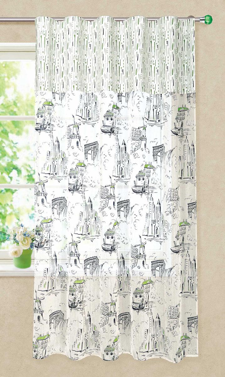 Штора готовая для кухни Garden, на ленте, цвет: серый, зеленый, размер 150* 180 см. С 3215 - W1979 - W1687 V11S03301004Штора тюлевая для кухни Garden выполнена из легкой ткани батиста (полиэстера) с изображением венецианских каналов. Легкая текстура материала и яркая цветовая гамма привлекут к себе внимание и станут великолепным украшением кухонного окна. Штора добавит уюта и послужит прекрасным дополнением к интерьеру кухни.Изделие оснащено шторной лентой для красивой сборки.
