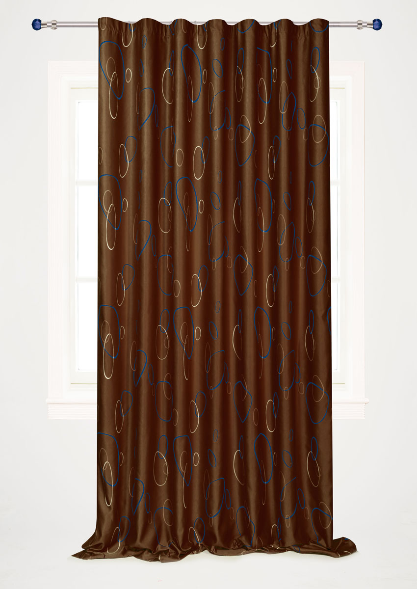 Штора готовая для гостиной Garden, на ленте, цвет: коричневый, размер 200*280 см. С 4180 - W1223 V20GC013/00Штора портьерная для гостиной Garden выполнена из плотного сатина (полиэстера) и оформлена мелким узором из окружностей. Богатая текстура материала и спокойная цветовая гамма украсят любое окно и органично впишутся в интерьер помещения.Изделие оснащено шторной лентой для красивой сборки.