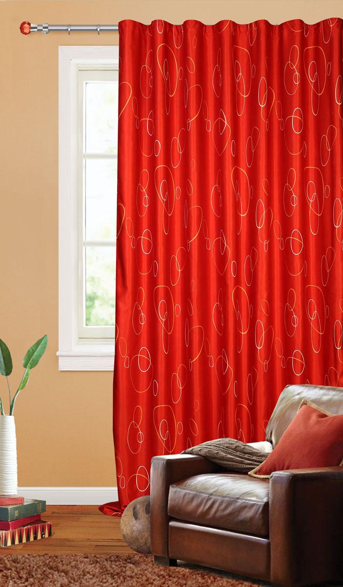 Штора готовая для гостиной Garden, на ленте, цвет: красный, размер 200*280 см. С 4180 - W1223 V31S03301004Штора портьерная для гостиной Garden выполнена из плотного сатина (полиэстера) и оформлена мелким узором из окружностей. Богатая текстура материала и спокойная цветовая гамма украсят любое окно и органично впишутся в интерьер помещения.Изделие оснащено шторной лентой для красивой сборки.