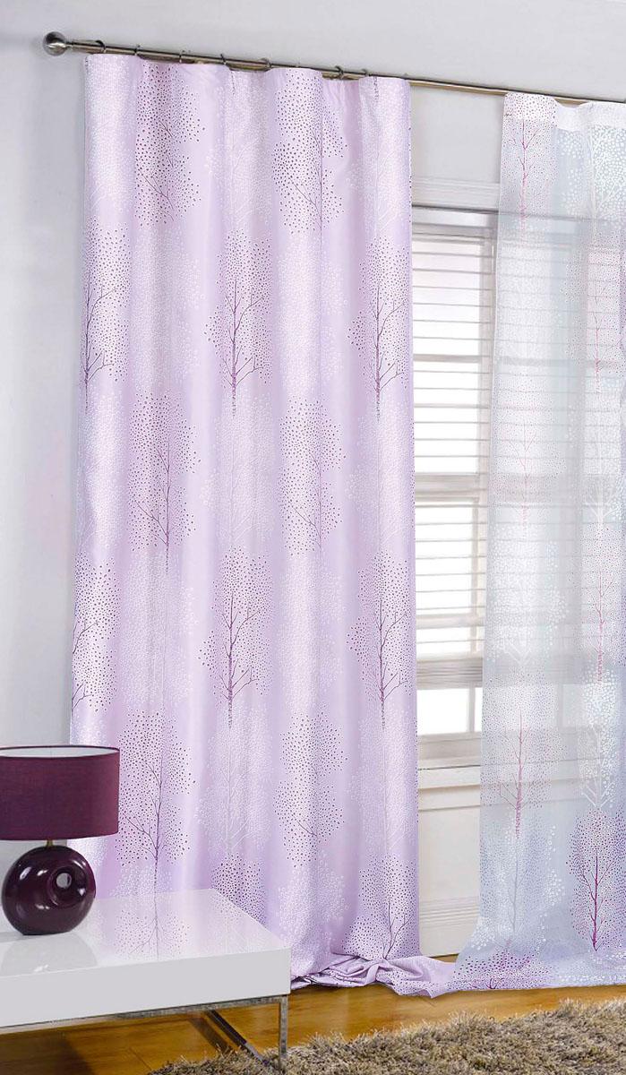 Штора готовая для гостиной Garden, на ленте, цвет: сиреневый, размер 200* 280 см. С 4232 - W1223 V14K100Штора портьерная для гостиной Garden выполнена из плотного сатина (полиэстера) и украшена узором в виде деревьев. Легкая текстура материала и нежная цветовая гамма привлекут к себе внимание и органично впишутся в интерьер помещения.Изделие оснащено шторной лентой для красивой сборки.Штора Garden великолепно украсит любое окно.