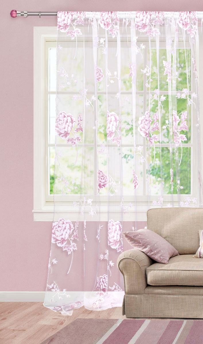 Штора готовая для гостиной Garden, на ленте, цвет: белый, розовый, размер 300*280 см. С 5222 - W260 V19DW90Штора тюлевая для гостиной Garden выполнена из тонкой полупрозрачной органзы (полиэстера с добавлением вискозы) и украшена цветочным узором. Легкая текстура материала и нежная цветовая гамма привлекут к себе внимание и органично впишутся в интерьер помещения.Изделие оснащено шторной лентой для красивой сборки.Штора Garden великолепно украсит любое окно.