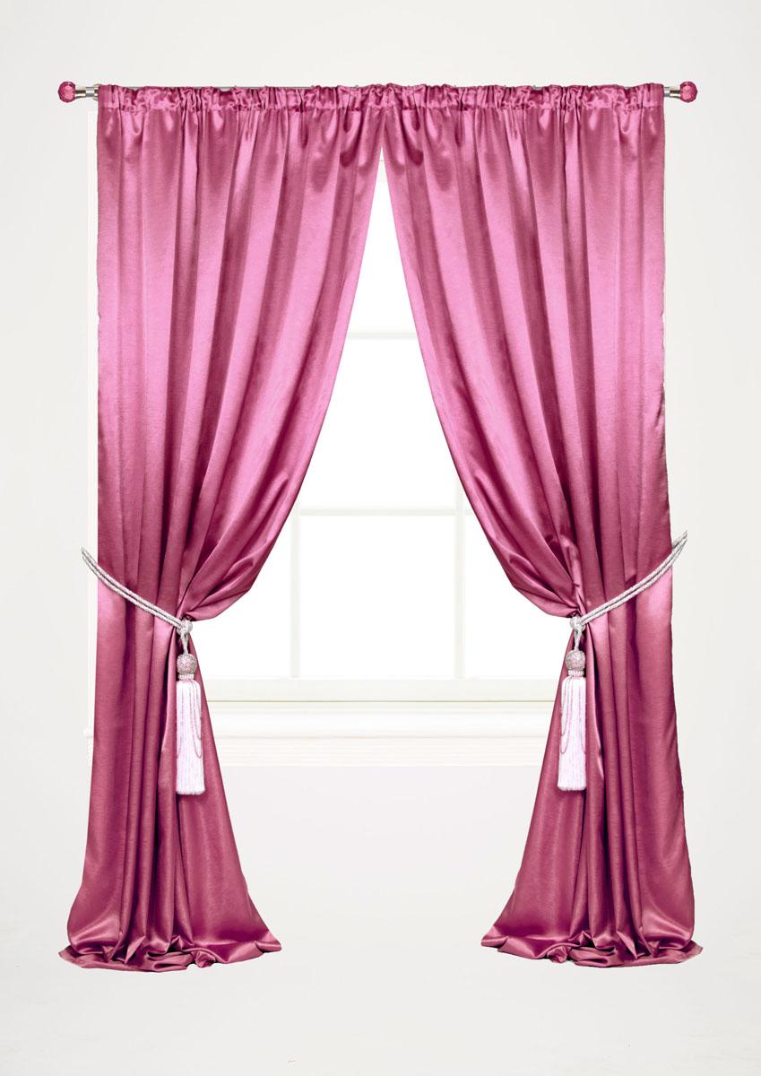 Штора готовая для гостиной Garden, на ленте, цвет: малиновый, размер 145*260 см. С 535082 V12UN123321660