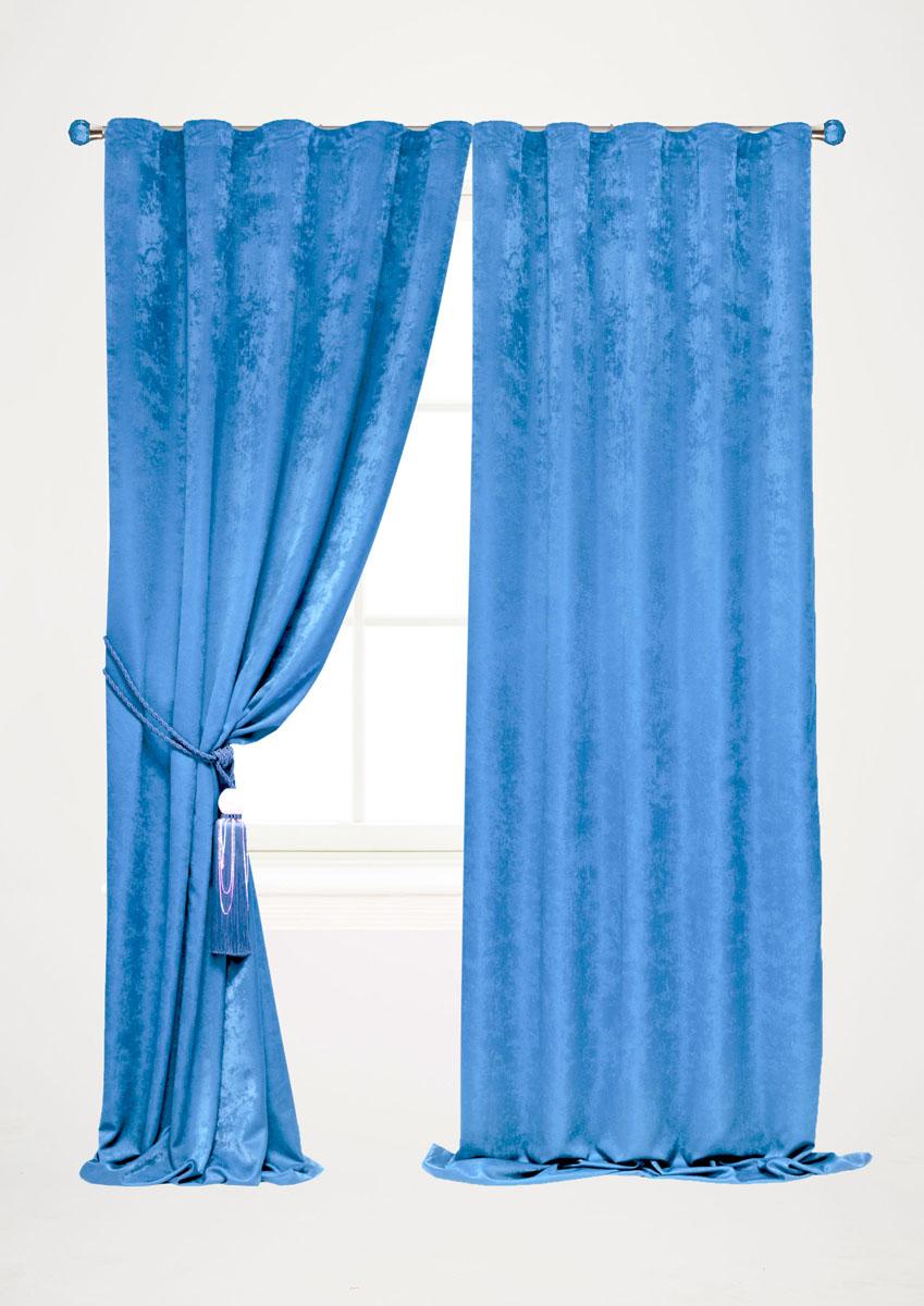 Штора готовая для гостиной Garden, на ленте, цвет: голубой, размер 140 х 260 см. С 535123 V2243UN111484130Штора готовая для гостиной Garden выполнена из облегченного велюра (полиэстера). Богатая текстура материала и изысканная цветовая гамма привлекут к себе внимание и органично впишутся в интерьер помещения.Изделие оснащено шторной лентой для красивой сборки.Штора Garden великолепно украсит любое окно.