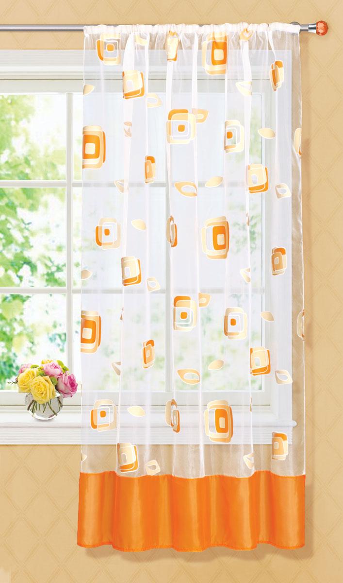 Штора готовая для кухни Garden, на ленте, цвет: оранжевый, размер 145*180 см. С 6232 - W1160 V1720736Готовая тюлевая штора для кухни Garden выполнена из тонкой полупрозрачной органзы (полиэстера с добавлением хлопка) и оформлена узором в виде квадратиков. Легкая текстура материала и яркая цветовая гамма привлекут к себе внимание и станут великолепным украшением любого окна. Она добавит немного уюта и послужит прекрасным дополнением к интерьеру кухни. Изделие оснащено шторной лентой для красивой сборки.