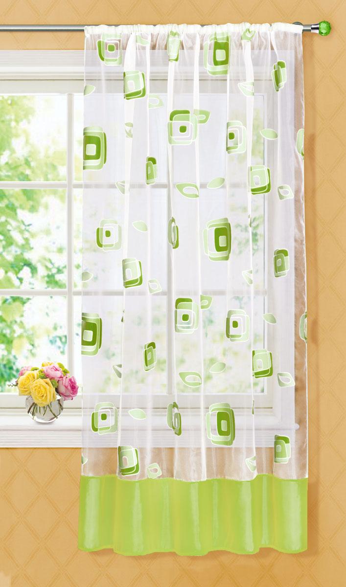 Штора готовая для кухни Garden, на ленте, цвет: зеленый, размер 145*180 см. С 6232 - W1160 V20S03301004Готовая тюлевая штора для кухни Garden выполнена из тонкой полупрозрачной органзы (полиэстера с добавлением хлопка) и оформлена узором в виде квадратиков. Легкая текстура материала и яркая цветовая гамма привлекут к себе внимание и станут великолепным украшением любого окна. Она добавит немного уюта и послужит прекрасным дополнением к интерьеру кухни. Изделие оснащено шторной лентой для красивой сборки.