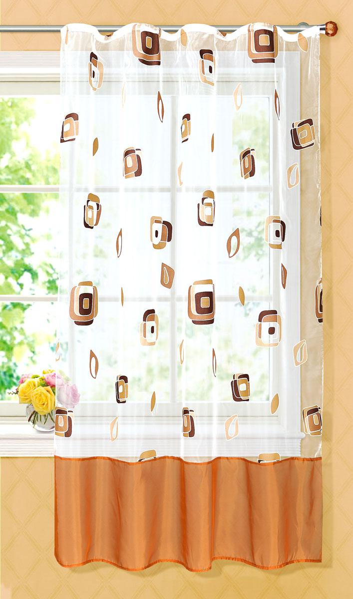 Штора готовая для кухни Garden, на ленте, цвет: коричневый, размер 145*180 см. С 6232 - W1160 V21748419Готовая тюлевая штора для кухни Garden выполнена из тонкой полупрозрачной органзы (полиэстера с добавлением хлопка) и оформлена узором в виде квадратиков. Легкая текстура материала и яркая цветовая гамма привлекут к себе внимание и станут великолепным украшением любого окна. Она добавит немного уюта и послужит прекрасным дополнением к интерьеру кухни. Изделие оснащено шторной лентой для красивой сборки.