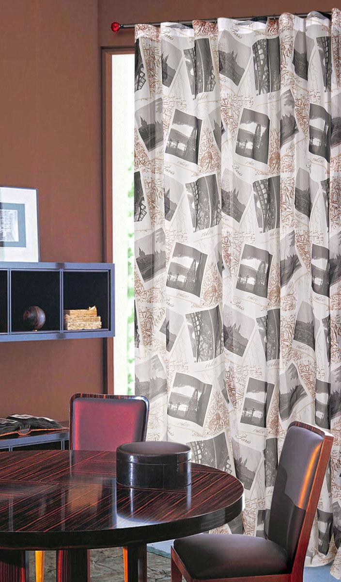 Штора готовая для гостиной Garden, на ленте, цвет: бежевый, размер 300*260 см. С 8166 - W191V539111213670Тюлевая штора Garden, изготовленная из вуали (полиэстера), станет великолепным украшением любого окна. Воздушная ткань с оригинальным рисунком создаст неповторимую атмосферу в вашем доме. В тюль вшита шторная лента.Шторная лента - специальная тесьма представляет собой каркас для всех видов складок. Внутри нее по всей длине проложены скрученные шнуры. Благодаря ей с драпировкой тюли может справиться даже человек, ничего не смыслящий в этой работе.Штора Garden придает законченность и гармоничность любому интерьеру. Простота модели и практичность ткани обеспечат удобство в эксплуатации и уходе.