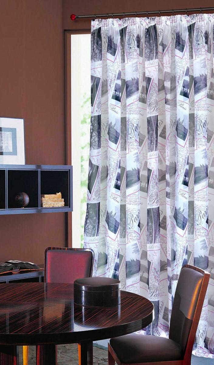 Штора готовая для гостиной Garden, на ленте, цвет: сиреневый, размер 300*260 см. С 8166 - W191 V8S03301004Тюлевая штора Garden, изготовленная из вуали (полиэстера), станет великолепным украшением любого окна. Воздушная ткань с оригинальным рисунком создаст неповторимую атмосферу в вашем доме. В тюль вшита шторная лента.Шторная лента - специальная тесьма представляет собой каркас для всех видов складок. Внутри нее по всей длине проложены скрученные шнуры. Благодаря ей с драпировкой тюли может справиться даже человек, ничего не смыслящий в этой работе.Штора Garden придает законченность и гармоничность любому интерьеру. Простота модели и практичность ткани обеспечат удобство в эксплуатации и уходе.