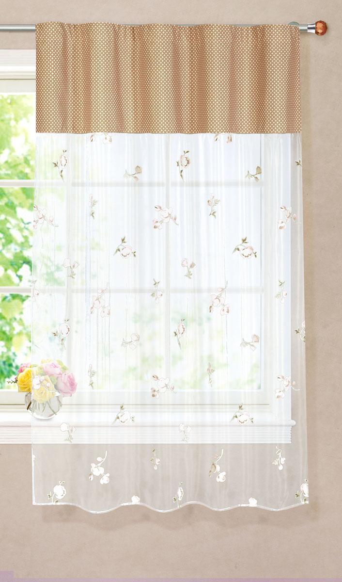 Штора готовая для кухни Garden, на ленте, цвет: бежевый, размер 150* 180 см. С 9144 - W260 - W1687 V18Б066 голубойТюлевая штора для кухни Garden выполнена из легкой органзы (полиэстера) с цветочным рисунком. Легкая текстура материала и яркая цветовая гамма привлекут к себе внимание и станут великолепным украшением кухонного окна. Штора добавит уюта и послужит прекрасным дополнением к интерьеру кухни.Изделие оснащено шторной лентой для красивой сборки.