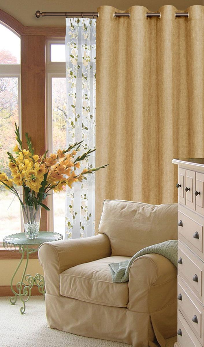 Штора готовая для гостиной Garden, на люверсах, цвет: светло-бежевый, размер 200*260 см. С W1884 V78075GC013/00Готовая штора-портера Garden, выполненная из ткани рогожка (плотного полиэстера крупного плетения), привлечет к себе внимание и органично впишется в интерьер помещения. Изделие оснащено пластиковыми люверсами, для подвешивания на карниз-трубу, которые гармонично смотрятся и легко скользят по карнизу. Шторы на люверсах идеально подойдут для гостиной, а также для детской комнаты, так как ребенку вряд ли удастся ее сорвать.Штора Garden великолепно украсит любое окно.