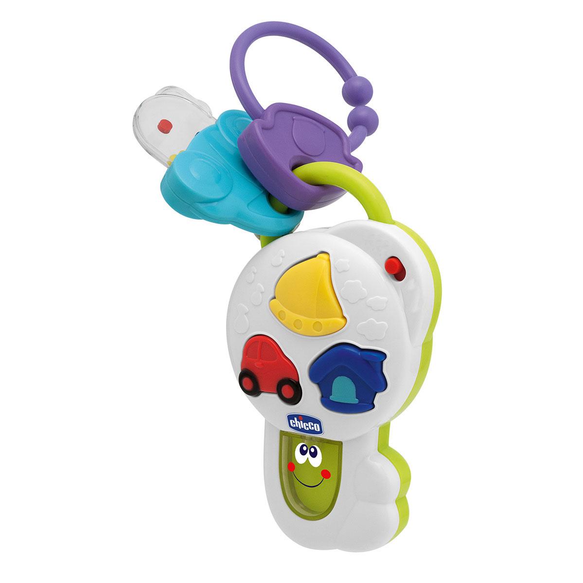"""Развивающая игрушка """"Говорящий ключик"""" понравится вашему ребенку и не позволит ему скучать. Она выполнена из прочного безопасного пластика в виде ключа, на корпусе которого находятся кнопки в виде машинки, кораблика и домика. Игрушка воспроизводит стишки, мелодии, звуки и забавные фразы на русском и английском языках. При этом в нижней части игрушки мигает огонек. К игрушке подвешена небольшая погремушка в виде машинки. С помощью кольца ключик легко прикрепить к коляске, креслу или игровой дуге малыша. Игрушка """"Говорящий ключик"""" поможет малышу в развитии цветового и звукового восприятия, мелкой моторики рук, координации движений, когнитивных навыков, фантазии и воображения, пополнит словарный запас."""