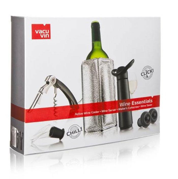 Подарочный набор VacuVin Wine Essentials, 6 предметовVT-1520(SR)Подарочный набор №4 Essentials от Vacu Vin – это прекрасный подарок как для начинающих, так и для опытных ценителей вина. С его помощью вино можно охладить, открыть, разлить и сохранить. В набор входит: охладительная рубашка для вина, универсальный штопор официанта, прозрачный каплеуловитель, вакуумный насос и 2 пробки. Характеристики: Материал: пластик, металл, резина, полиэтилен, гель(PE, PA, PET). Размер насоса:13,5 см x 7,5 см x 5 см. Размер пробки:4,5 см х 3,5 см х 3,5 см. Размер каплеуловителя:6 см x 4 см x 3 см. Размер штопора в сложенном виде:12,5 см х 2,5 см х 1,5 см. Размер упаковки:27 см x 22 см x 5,5 см.