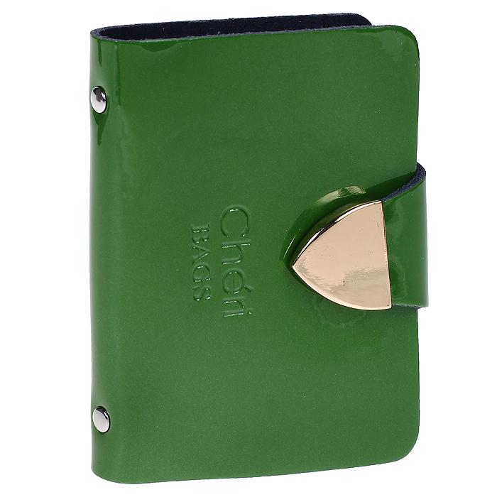 Визитница Cheribags, цвет: зеленый. V-0482-14MX3024820_WM_SHL_010Изысканная визитница Cheribags изготовлена из натуральной лаковой кожи и декорирована тисненым названием бренда спереди. Изделие закрывается хлястиком, оформленным металлической пластиной, на кнопку. Внутри - блок из прозрачного мягкого пластика на 26 визиток, который крепится к корпусу визитницы на металлические заклепки.Стильная визитница - это не только практичная вещь для хранения пластиковых карт, но и модный аксессуар, который подчеркнет ваш неповторимый стиль.