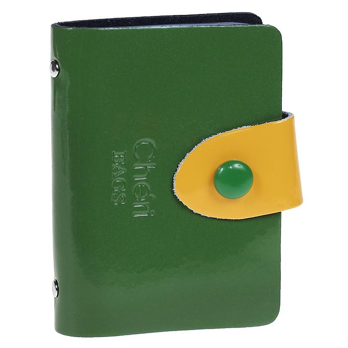 Визитница Cheribags, цвет: зеленый, желтый. V-0499-143607869410673Элегантная визитница Cheribags - стильная вещь для хранения визиток. Визитница выполнена из натуральной лаковой кожи, закрывается с помощью хлястика на металлическую кнопку. Внутри содержит блок из мягкого пластика, рассчитанный на 26 визиток. Такая визитница станет замечательным подарком человеку, ценящему качественные и практичные вещи.