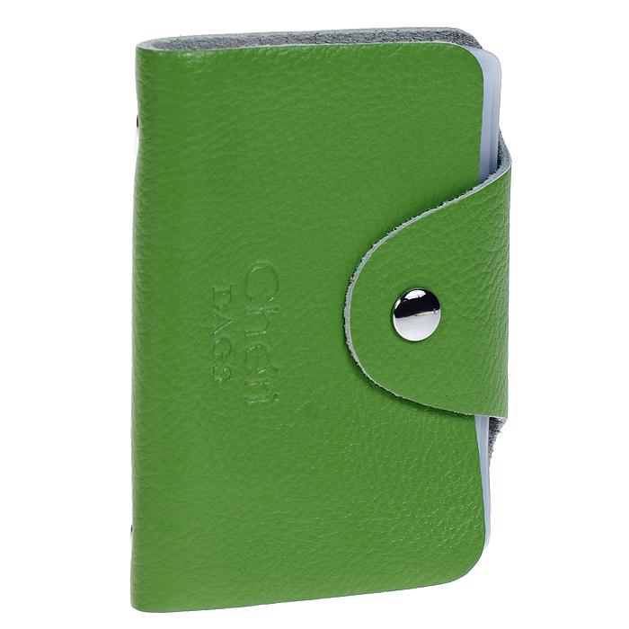 Визитница Cheribags, цвет: зеленый. V-0489-14MWH5602/3Элегантная визитница Cheribags - стильная вещь для хранения визиток. Визитница выполнена из натуральной кожи, закрывается клапаном на металлическую кнопку. Внутри содержит блок из мягкого пластика, рассчитанный на 26 визиток. Такая визитница станет замечательным подарком человеку, ценящему качественные и практичные вещи.