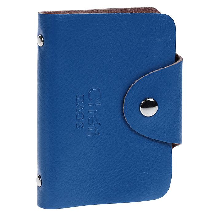 Визитница Cheribags, цвет: синий. V-0489-17993224Элегантная визитница Cheribags - стильная вещь для хранения визиток. Визитница выполнена из натуральной кожи, закрывается клапаном на металлическую кнопку. Внутри содержит блок из мягкого пластика, рассчитанный на 26 визиток. Такая визитница станет замечательным подарком человеку, ценящему качественные и практичные вещи.