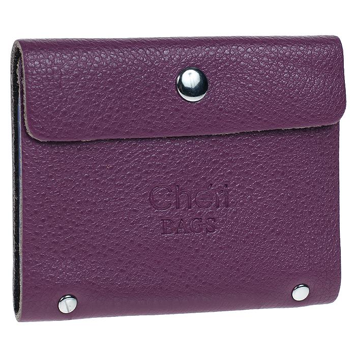Визитница Cheribags, цвет: фиолетовый. V-0488-19A52_108Элегантная визитница Cheribags - стильная вещь для хранения визиток. Визитница выполнена из натуральной кожи фиолетового цвета, закрывается на кнопку. Внутри содержит блок из мягкого пластика, рассчитанный на 26 визиток.Такая визитница станет замечательным подарком человеку, ценящему качественные и практичные вещи. Характеристики: Материал: натуральная кожа, текстиль, металл.Размер визитницы (в закрытом виде): 10 см х 1,5 см х 8 см.Цвет: фиолетовый.Артикул: V-0488-19.