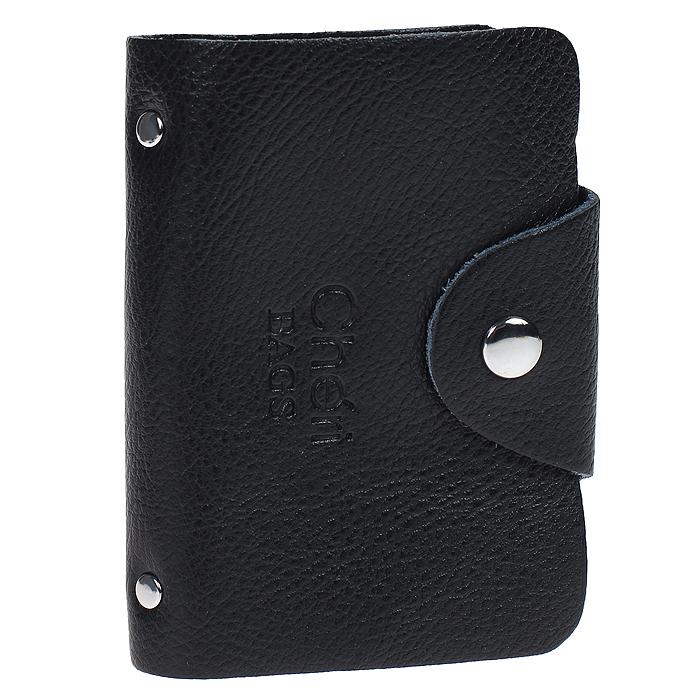 Визитница Cheribags, цвет: черный. V-0489-10A52_108Элегантная визитница Cheribags - стильная вещь для хранения визиток. Визитница выполнена из натуральной кожи, закрывается клапаном на металлическую кнопку. Внутри содержит блок из мягкого пластика, рассчитанный на 26 визиток. Такая визитница станет замечательным подарком человеку, ценящему качественные и практичные вещи.