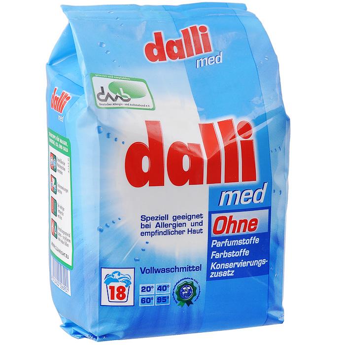 """Dalli """"Med"""" универсальный концентрированный гипоаллергенный стиральный порошок для стирки белья младенцев и людей с чувствительной кожей. Не содержит фосфаты, ароматизаторы и красители. Хватает на 18 стирок.  Дозировка: нормальное загрязнение, средняя вода - 85 мл (67,5 г), ручная стирка 30 мл на 10 л воды.     Характеристики: Вес: 1,215 кг.  Размер упаковки: 12 см х 9 см х 15 см.  Состав: анионные тензиды (15-30%), отбеливатель на натуральной основе (5-15%), неионные тензиды, поликарбоксилат, фосфонат, энзимы, оптические осветлители."""