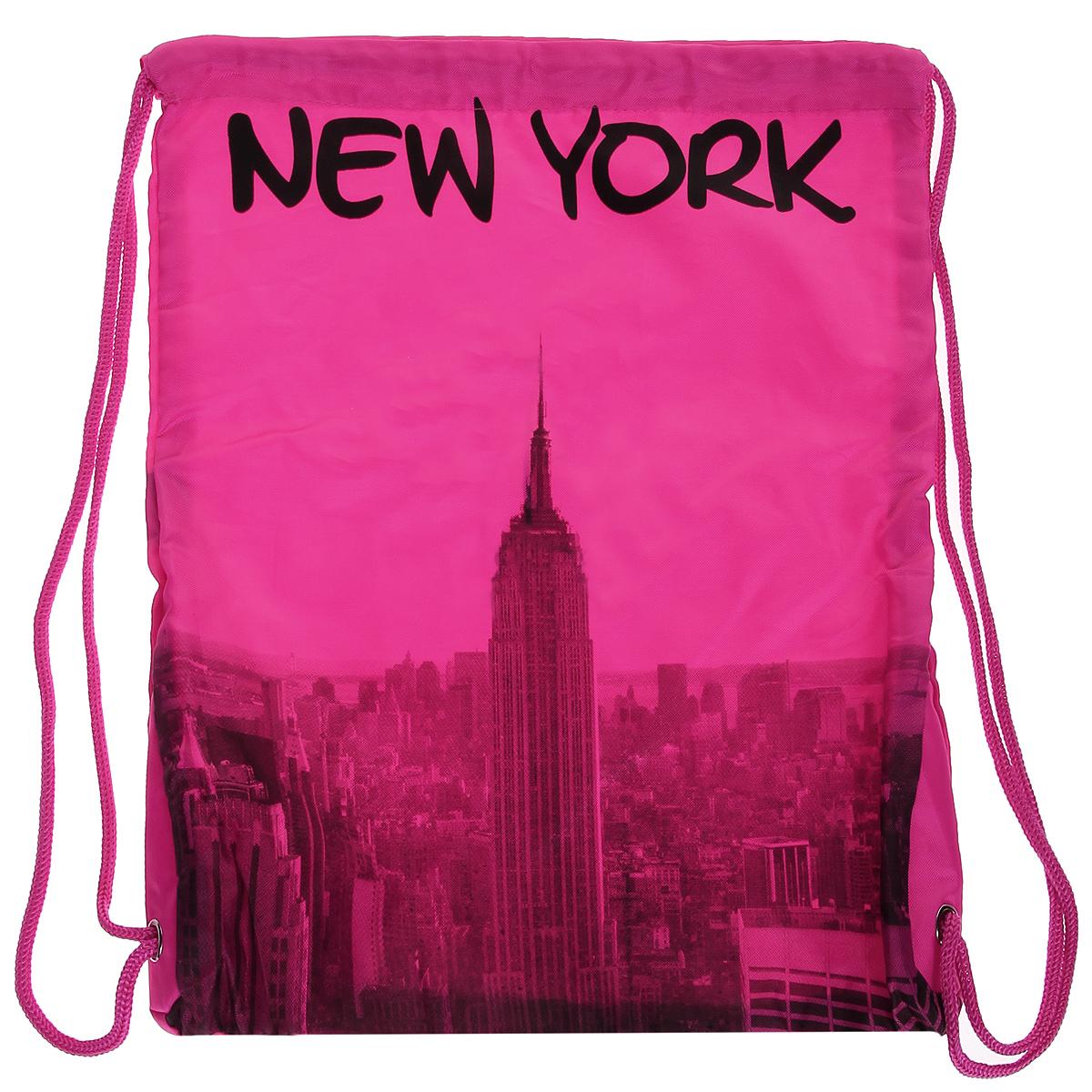 Сумка женская Robin Ruth New York, цвет: розовый. BNY614-C10130-11Стильная женская сумка выполнена из полиэстера розового цвета и оформлена принтом в виде надписей New York. Сумка состоит из одного основного отделения, которое затягивается шнурком. Такая сумка идеально дополнит ваш образ. Характеристики:Цвет: розовый. Материал: полиэстер. Размер сумки (без учета ручки): 34 см х 43 см х 2 см. Изготовитель: Китай. Артикул: BNY614-C.