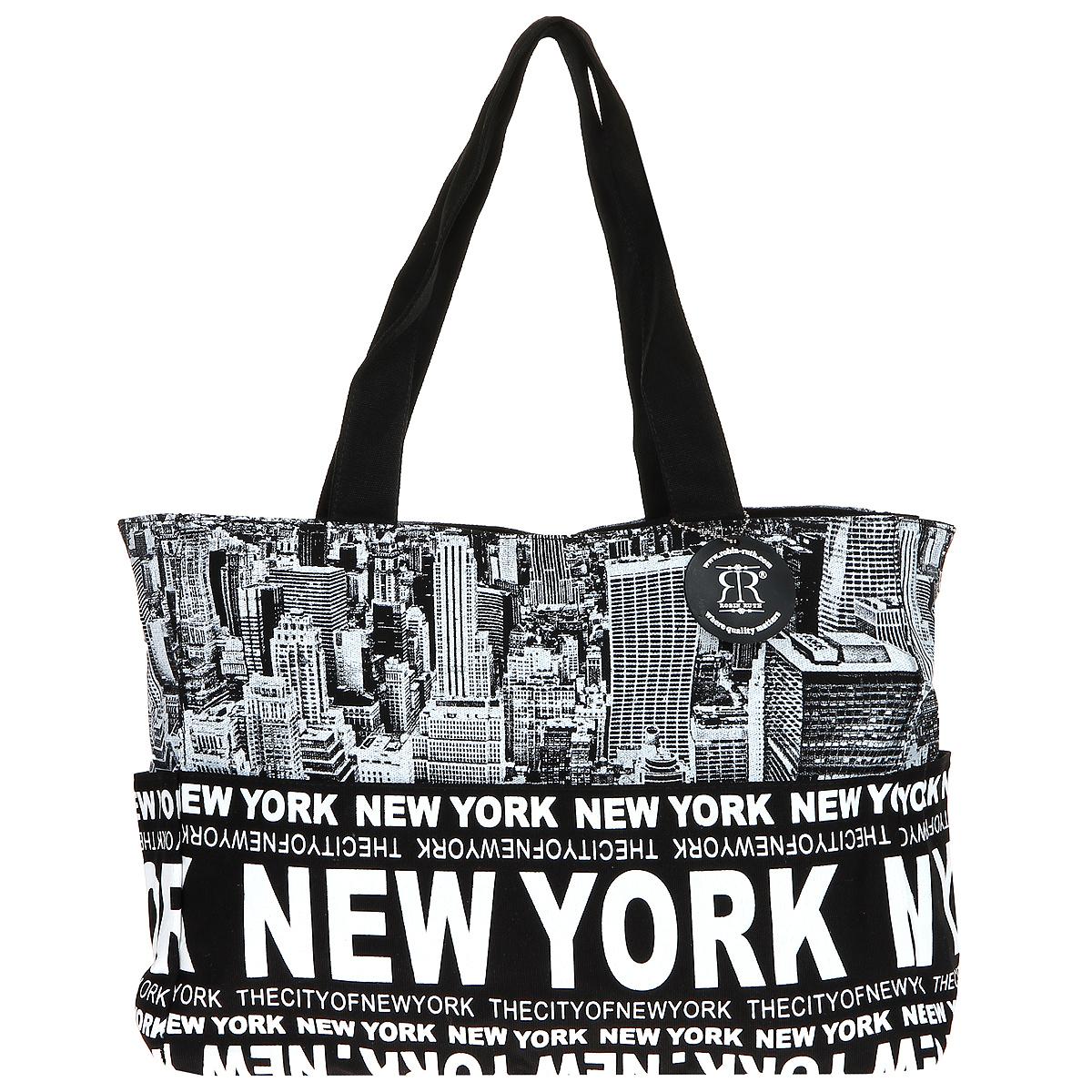 Сумка женская Robin Ruth New York, цвет: черный, белый. BNY014-Y3-47670-00504Стильная женская сумка выполнена из канвы черного, белого цветов и оформлена принтом в виде надписей New York. Сумка состоит из одного основного отделения, которое закрывается на молнию. Внутри вшитый карман на молнии и накладной кармашек для мобильного телефона. Такая сумка идеально дополнит ваш образ. Характеристики:Цвет: черный, белый. Материал: канва, металл. Размер сумки (без учета ручки): 47 см х 29 см х 13 см. Высота ручек: 26 см. Изготовитель: Китай. Артикул: BNY014-Y.