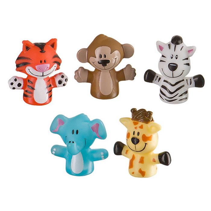 """Набор пальчиковых игрушек """"Джунгли/сафари"""" представляет собой мини-театр, состоящий из веселых животных: жирафика, обезьянки, слоника, тигренка и зебры. С помощью фигурок можно разыгрывать маленькие спектакли и рассказывать малышу истории, подкрепляя их визуальными образами. Игрушки легко надеваются на палец, ими удобно управлять даже ребенку. Они выполнены из безопасного мягкого материала. Забавные персонажи смогут развлечь малыша и во время купания. Набор пальчиковых игрушек """"Джунгли/сафари"""" поспособствует ребенку в развитии цветового восприятия, внимания, воображения, фантазии, мышления, памяти и мелкой моторики рук. Высота игрушек: 5,5 см. Рекомендуемый возраст: от 6 месяцев."""