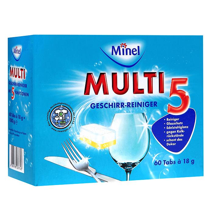 Чистящее средство для посуды Minel Multi 5, 60х18гHD-8000SXЧистящее средство для посуды Minel Multi 5 идеально очищает посуду, придает блеск и защищает посудомоечную машину от известкового налета. В комплекте 60 таблеток. Одной таблетки достаточно на один процесс мытья. Характеристики: Количество таблеток: 60 шт. Вес одной таблетки: 18 г. Размер упаковки: 19 см х 7,5 см х 15 см. Артикул: 803774. Товар сертифицирован.