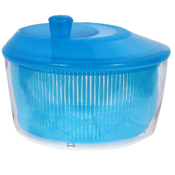 Сушилка для зелени Cosmoplast, цвет: синий, 4,2 л03616-213Сушилка для зелени Cosmoplast выполнена из пищевого пластика. Сушилка состоит из прозрачной емкости, сита и крышки с кнопкой. С ее помощью можно просушивать зелень, салаты и многое другое. Вращением ручки на крышке приводится в действие вращательный механизм, и лишняя влага оседает внизу. Сушилка достаточно вместительная, что позволит ваш просушить сразу весь уже нарезанный салат. Сушилка легко моется и разбирается, что гарантирует максимальную гигиену. Эффект антискольжения обеспечивают удобные ножки и ручка вращения. Функциональность, прочность и универсальность сделают такую сушилку незаменимым аксессуаром для приготовления ваших любимых блюд.Материал: пластик.Объем: 4,2 л.Диаметр: 26 см.Высота: 18 см.