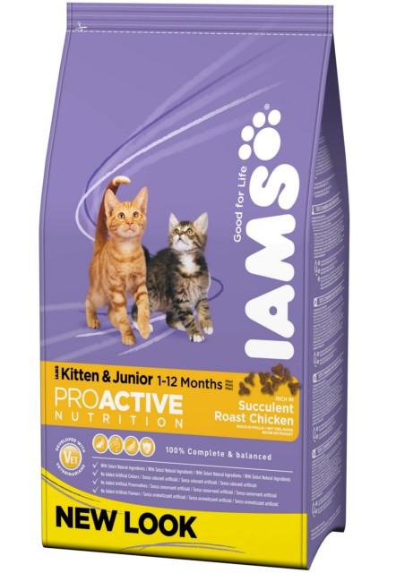 Корм сухой Iams Kitten для котят и кошек во время беременности и лактации, с курицей, 10 кг0120710Сухой корм Iams Kitten является полноценным сбалансированным питанием для котят от 1 до 12 месяцев, беременных и лактирующих кошек. Не содержит искусственных красителей, консервантов и вкусовых добавок.Iams дает вашей кошке все необходимые питательные вещества для поддержания все 7 признаков здорового животного:- Хорошее пищеварение: пребиотики и пульпа сахарной свеклы поддерживают развитие пищеварительной системы вашего котенка.- Сильная иммунная система: корм обогащен антиоксидантами, которые способствуют поддержанию сильной иммунной системы. - Оптимальный рост: высококачественные белки способствуют росту и развитию сильной мускулатуры вашего котенка. - Здоровье кожи и шерсти: содержание Омега-6 и Омега-3 жирных кислот для здоровья кожи и блеска шерсти. - Отличное зрение: докозагексаеновая (DHA) кислота ряда Омега-3 способствует развитию органов зрения. - Способность к обучению: докозогексаеновая (DHA) кислота ряда Омега-3 способствует развитию головного мозга и улучшает способность котенка к обучению. - Крепкие кости: содержание таких необходимых минеральных веществ, как кальций и фосфор, обеспечивает формирование крепкого скелета.Состав: сублимированное мясо курицы и индейки (41%, натуральный источник таурина), кукуруза, животный жир, пшеница, сухое цельное яйцо, сухая пульпа сахарной свеклы (2,7%), гидролизованный животный белок, кальция карбонат, фруктоолигосахариды (0,69%), рыбий жир, калия хлорид, сухие пивные дрожжи, натрия хлорид.Пищевая ценность: протеин - 34%, жир - 22%, жирные кислоты Омега-6 - 3,31%, жирные кислоты Омега-3 - 0,40%, минералы - 6,80%, клетчатка - 1,80%, кальций - 1,25%, фосфор - 0,95%, магний - 0,095%.Добавки на 1 кг: витамин А - 61480 МЕ, витамин Д3 - 1768 МЕ, витамин Е - 152 мг, моногидрат основного карбоната кобальта - 0,48 мг, пентагидрат сульфата меди - 36 мг, моногидрат сульфата марганца - 128 мг, йодид калия - 1,6 мг, оксид цинка - 21