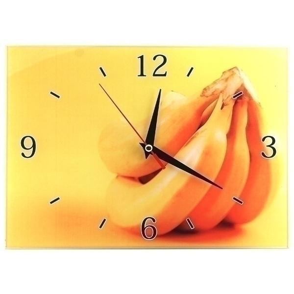 Часы настенные Бананы, стеклянные, цвет: желтый. 95307300074_ежевикаОригинальные настенные часы Бананы прямоугольной формы выполнены из стекла и оформлены изображением бананов. Часы имеют три стрелки - часовую, минутную и секундную. Циферблат часов не защищен. Необычное дизайнерское решение и качество исполнения придутся по вкусу каждому. Оформите совой дом таким интерьерным аксессуаром или преподнесите его в качестве презента друзьям, и они оценят ваш оригинальный вкус и неординарность подарка. Характеристики:Материал: пластик, стекло. Размер: 28 см x 20 см x 2 см. Размер упаковки: 30 см х 21,5 см х 4,5 см. Артикул: 95307. Работают от батарейки типа АА (в комплект не входит).
