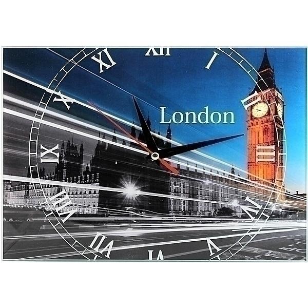 Часы настенные London, стеклянные, цвет: мульти. 9530995309Оригинальные настенные часы London прямоугольной формы выполнены из стекла и оформлены изображением Лондона. Часы имеют три стрелки - часовую, минутную и секундную. Циферблат часов не защищен. Необычное дизайнерское решение и качество исполнения придутся по вкусу каждому. Оформите совой дом таким интерьерным аксессуаром или преподнесите его в качестве презента друзьям, и они оценят ваш оригинальный вкус и неординарность подарка. Характеристики:Материал: пластик, стекло. Размер: 28 см x 20 см x 2 см. Размер упаковки: 30 см х 21,5 см х 4,5 см. Артикул: 95309. Работают от батарейки типа АА (в комплект не входит).