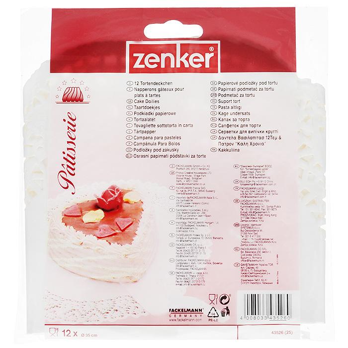 Салфетки для сервировки Zenker, цвет: белый, диаметр 35 см, 12 шт1004900000360Круглые салфетки Zenker изготовлены из жиростойкой бумаги белого цвета и украшены перфорацией по краю. Такие салфетки предназначены для упаковки, хранения и сервировки кондитерских изделий. Характеристики:Материал: жиростойкая бумага (подпергамент). Цвет: белый. Диаметр салфетки: 35 см. Комплектация: 12 шт. Артикул: 43526. Компания Fackelmann была основана в 1948 году и в настоящее время является крупнейшим мировым поставщиком товаров для дома. В ассортименте компании найдутся товары для самых разных покупателей. Продукция Fackelmann выполнена из различных комбинаций металла - нержавеющей, хромированной, никелированной и луженой стали, светлого и темного дерева - бука и сосны, пластмассы, акрила, прозрачного, матового и цветного стекла. С продукцией Fackelmann ваш дом станет красивее, уютнее и намного удобнее!