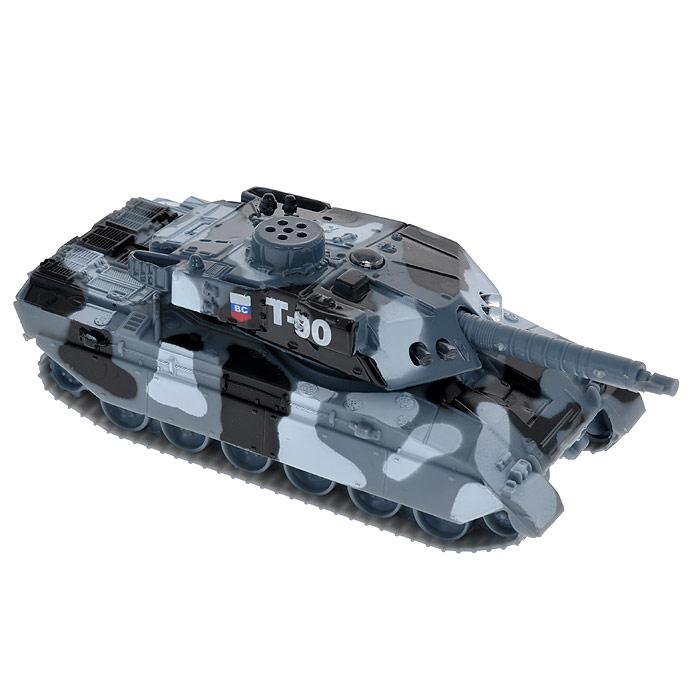 """Игрушка ТехноПарк """"Танк"""" со световыми и звуковыми эффектами надолго привлечет внимание вашего ребенка. Она выполнена из металла с элементами пластика в виде танка. У игрушки вращается башня. Если ребенок нажмет на башню, то он услышит звуки работающего танка, при этом будут светиться лампочке на корпусе. Ваш ребенок будет часами играть с танком, придумывая различные истории. Порадуйте его таким замечательным подарком!"""