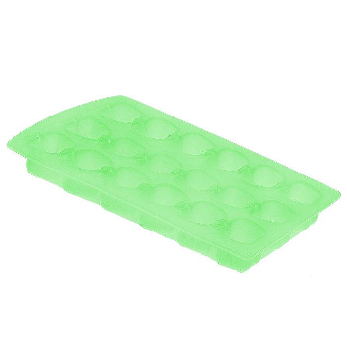Форма для льда Яблоко, цвет: салатовый, 18 ячеекАксион Т-33Форма для льда Яблоко выполнена из силикона. На одном листе расположено 18 ячеек в виде фигурок яблока. Благодаря тому, что формочки изготовлены из силикона, готовый лед вынимать легко и просто. Чтобы достать льдинки, эту форму не нужно держать под теплой водой или использовать нож.Теперь на смену традиционным квадратным пришли новые оригинальные формы для приготовления фигурного льда, которыми можно не только охладить, но и украсить любой напиток. В формочки при заморозке воды можно помещать ягодки, такие льдинки не только оживят коктейль, но и добавят радостного настроения гостям на празднике! Характеристики:Размер общей формы:11,5 см х 23 см х 2,5 см. Размер формочки: 2,5 см х 2,5 см х 2,2 см. Материал: силикон. Цвет: салатовый. Производитель: Италия. Артикул:253527.