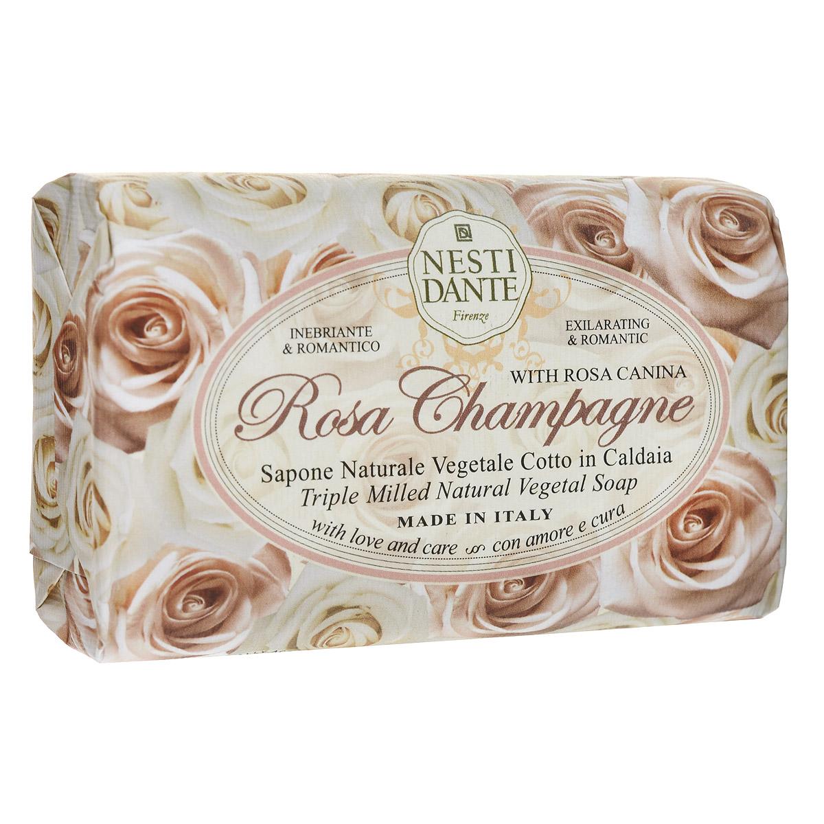 Nesti Dante Мыло Rose Champagne, 150 гSatin Hair 7 BR730MNМыло Nesti Dante Rose Champagne - увлажняющее мыло с ароматом нежных, как шелк, лепестков розы. Характеристики:Вес: 150 г. Артикул: 1323106. Производитель: Италия. Товар сертифицирован.